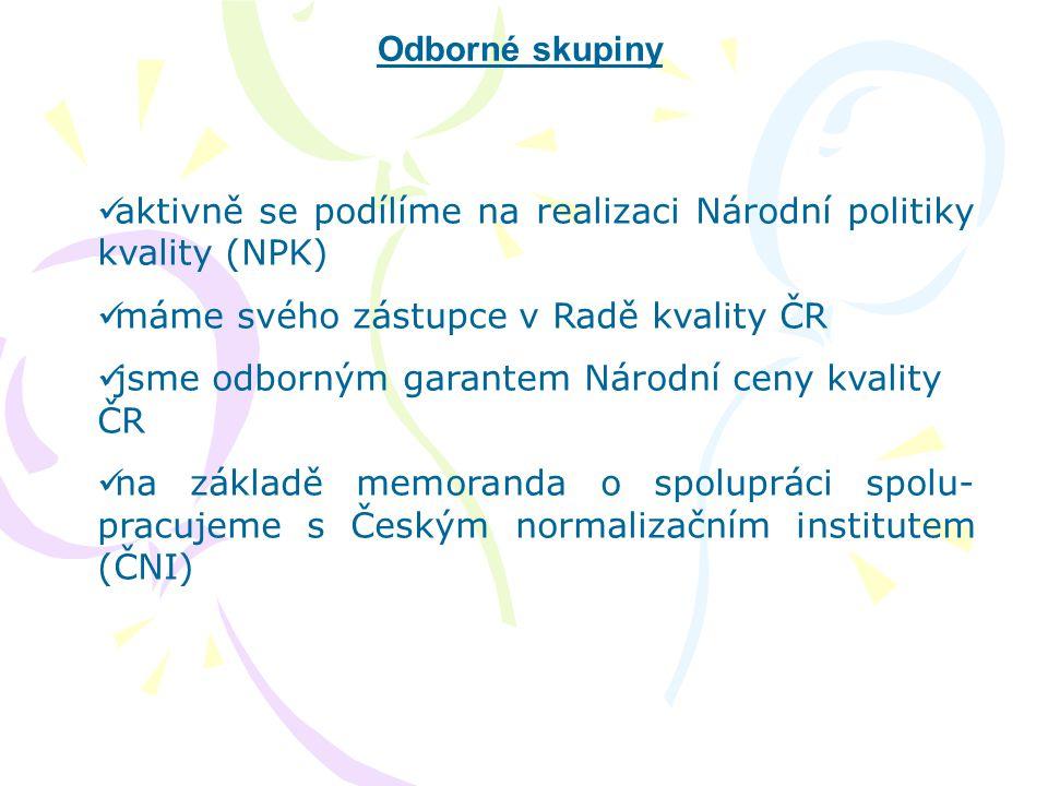 Odborné skupiny aktivně se podílíme na realizaci Národní politiky kvality (NPK) máme svého zástupce v Radě kvality ČR.
