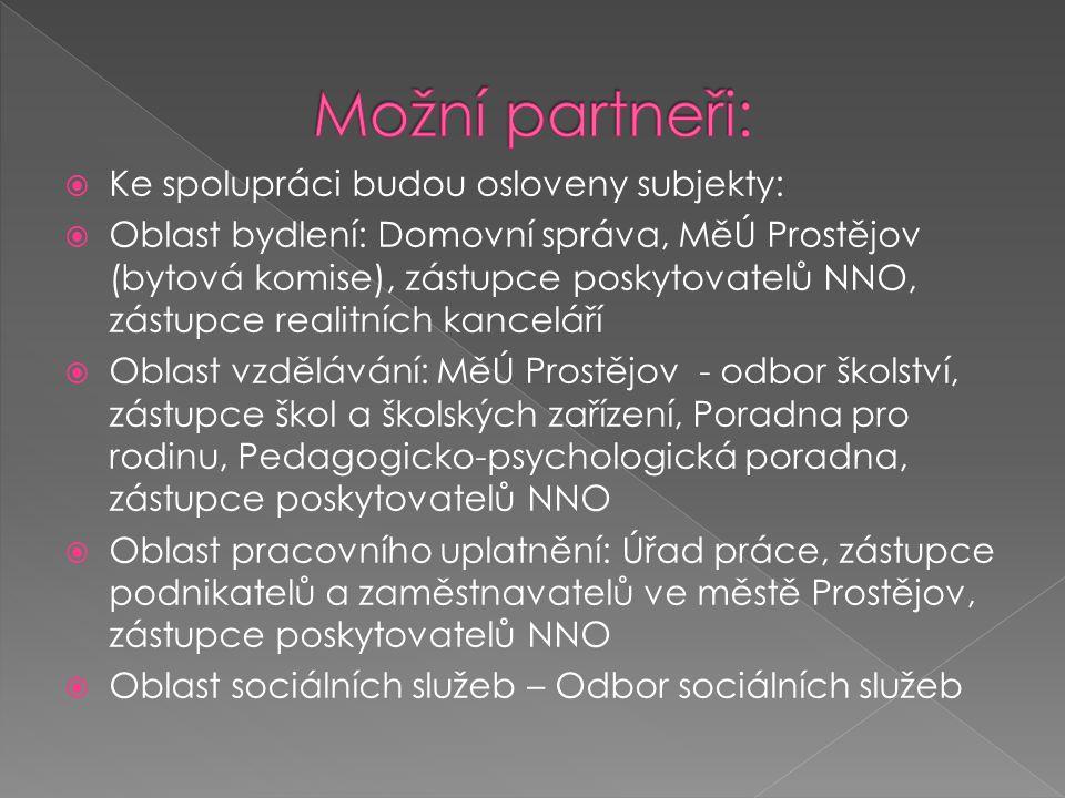 Možní partneři: Ke spolupráci budou osloveny subjekty: