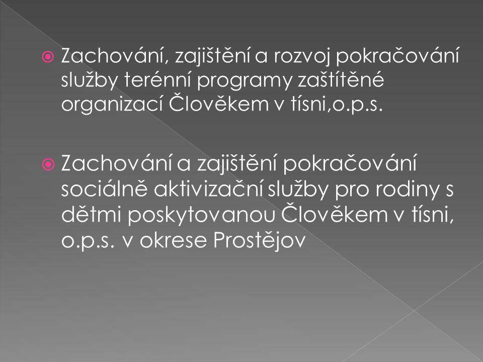 Zachování, zajištění a rozvoj pokračování služby terénní programy zaštítěné organizací Člověkem v tísni,o.p.s.