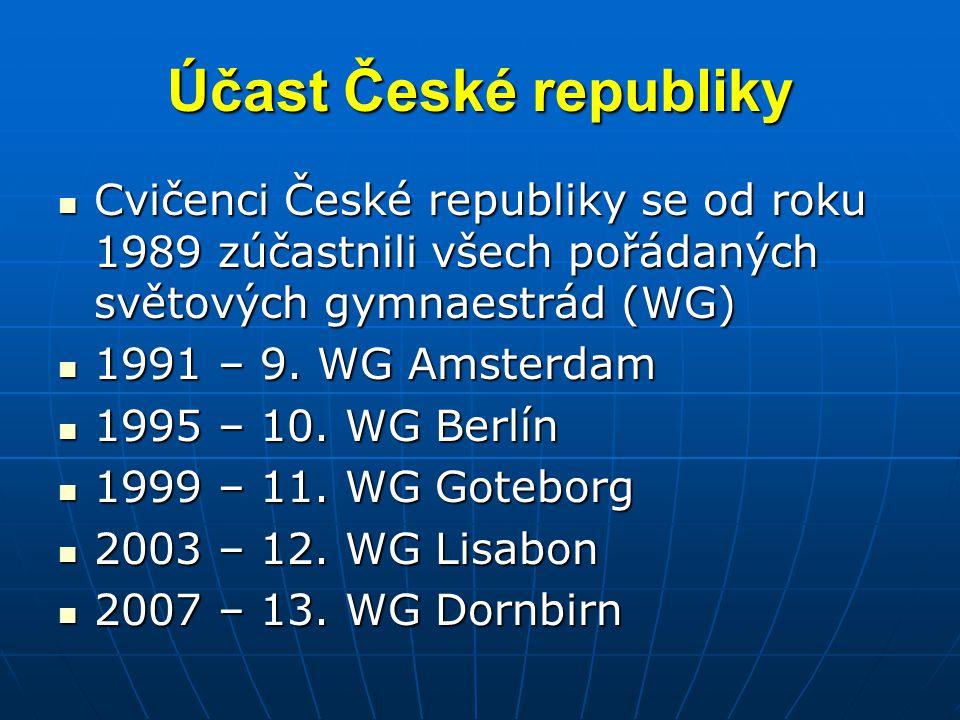 Účast České republiky Cvičenci České republiky se od roku 1989 zúčastnili všech pořádaných světových gymnaestrád (WG)