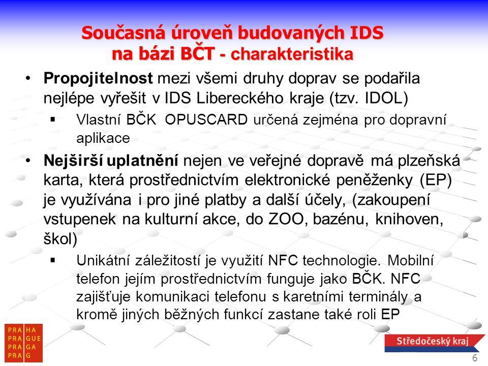 Současná úroveň budovaných IDS na bázi BČT - charakteristika