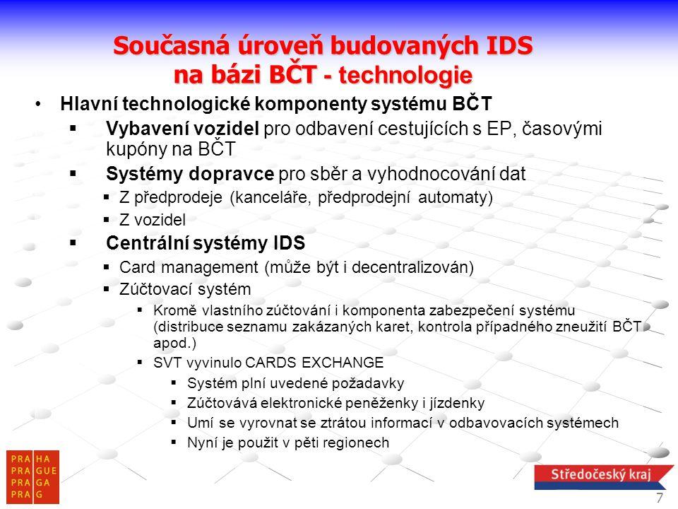 Současná úroveň budovaných IDS na bázi BČT - technologie