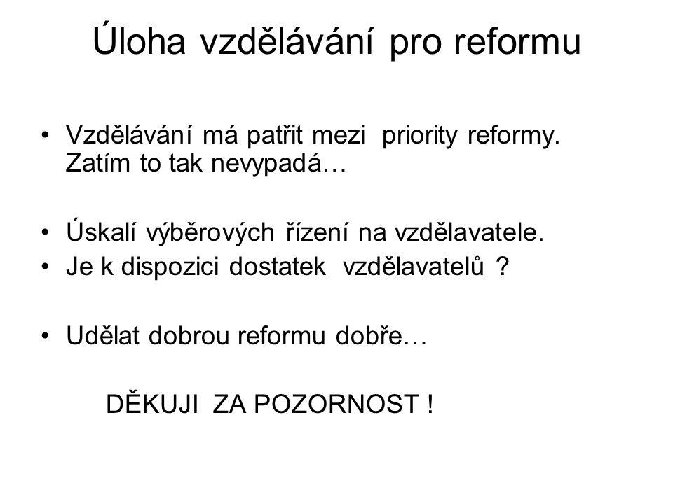 Úloha vzdělávání pro reformu