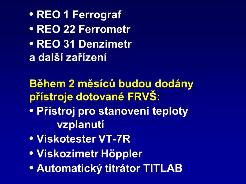 • REO 1 Ferrograf • REO 22 Ferrometr • REO 31 Denzimetr a další zařízení Během 2 měsíců budou dodány přístroje dotované FRVŠ: • Přístroj pro stanovení teploty vzplanutí • Viskotester VT-7R • Viskozimetr Höppler • Automatický titrátor TITLAB