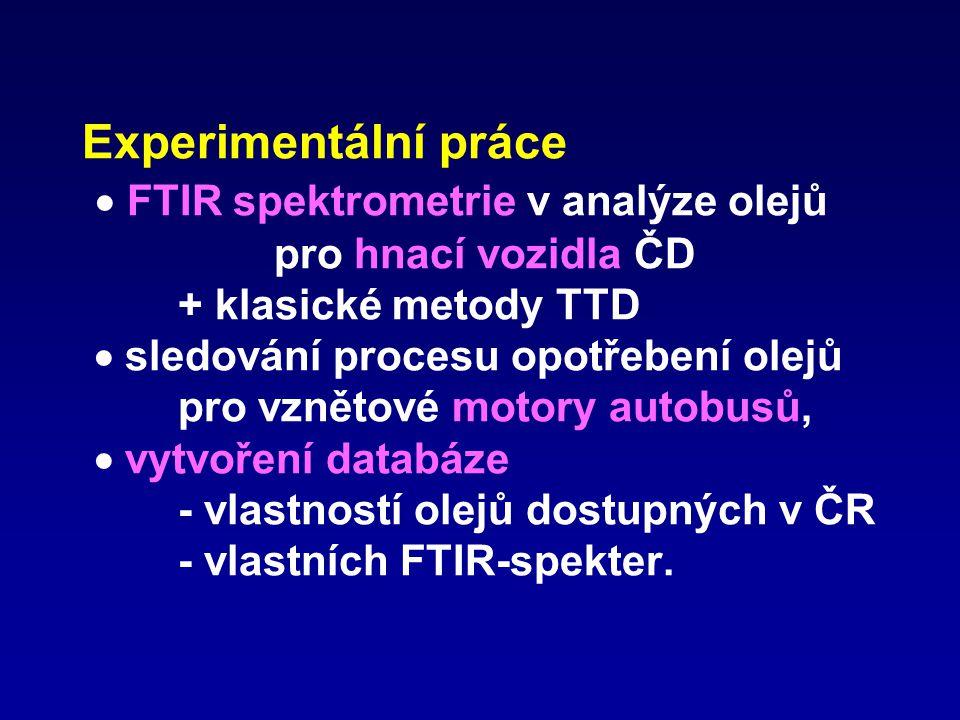 Experimentální práce  FTIR spektrometrie v analýze olejů