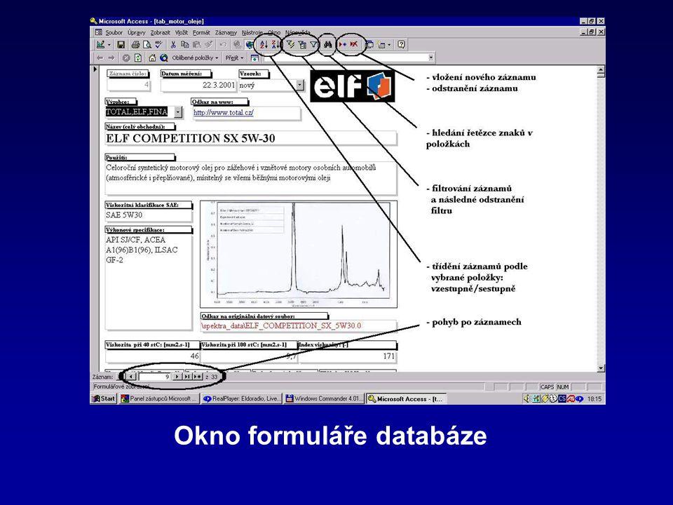 Okno formuláře databáze