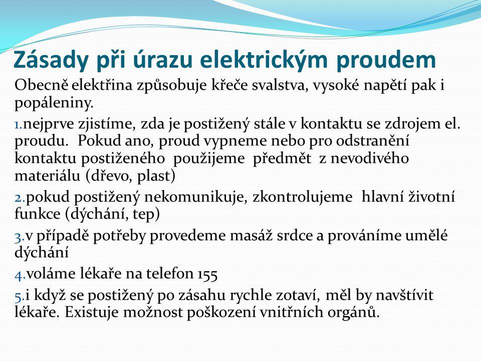 Zásady při úrazu elektrickým proudem