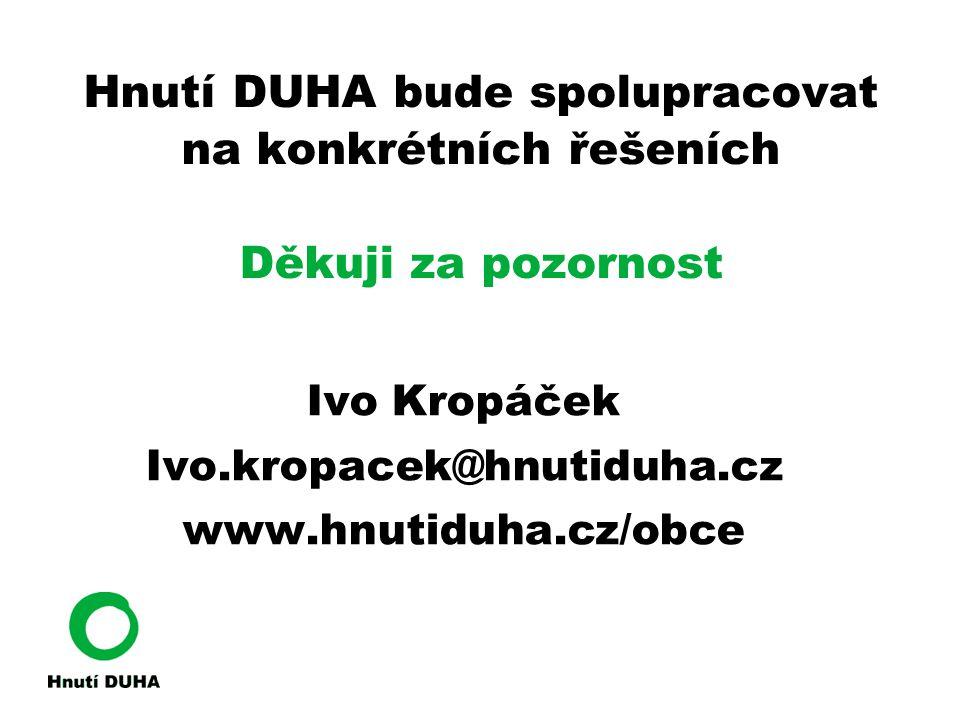 Hnutí DUHA bude spolupracovat na konkrétních řešeních Děkuji za pozornost
