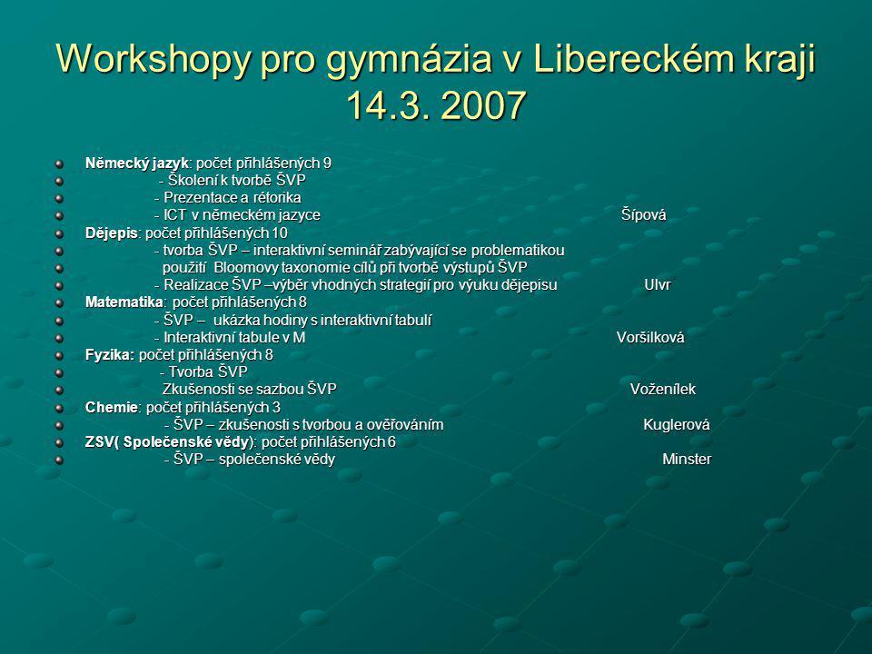 Workshopy pro gymnázia v Libereckém kraji 14.3. 2007
