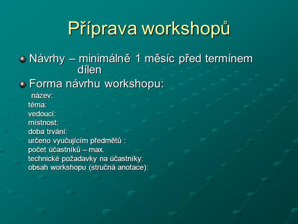 Příprava workshopů Návrhy – minimálně 1 měsíc před termínem dílen