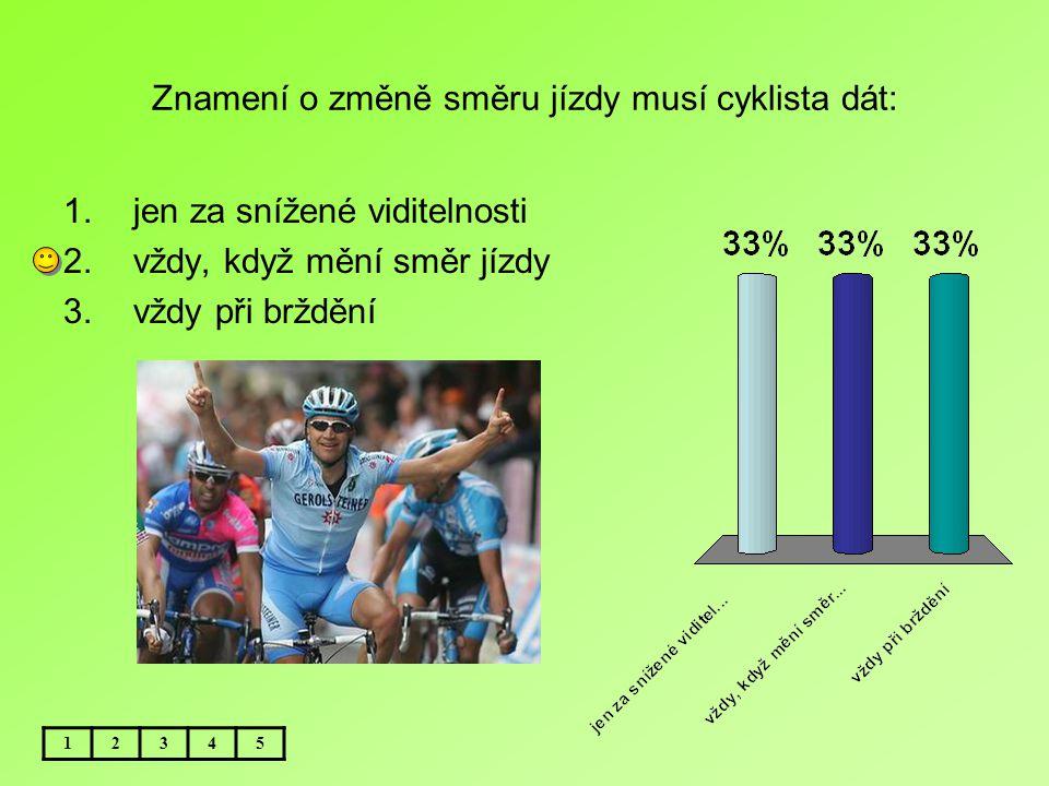 Znamení o změně směru jízdy musí cyklista dát: