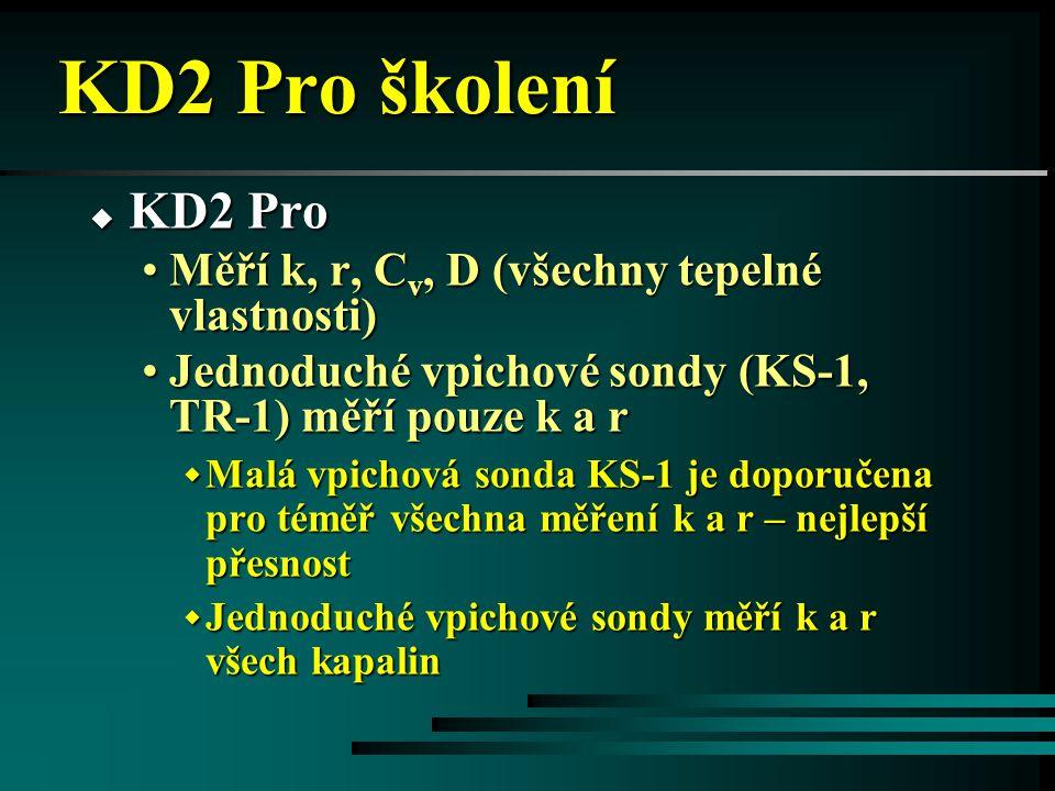 KD2 Pro školení KD2 Pro Měří k, r, Cv, D (všechny tepelné vlastnosti)