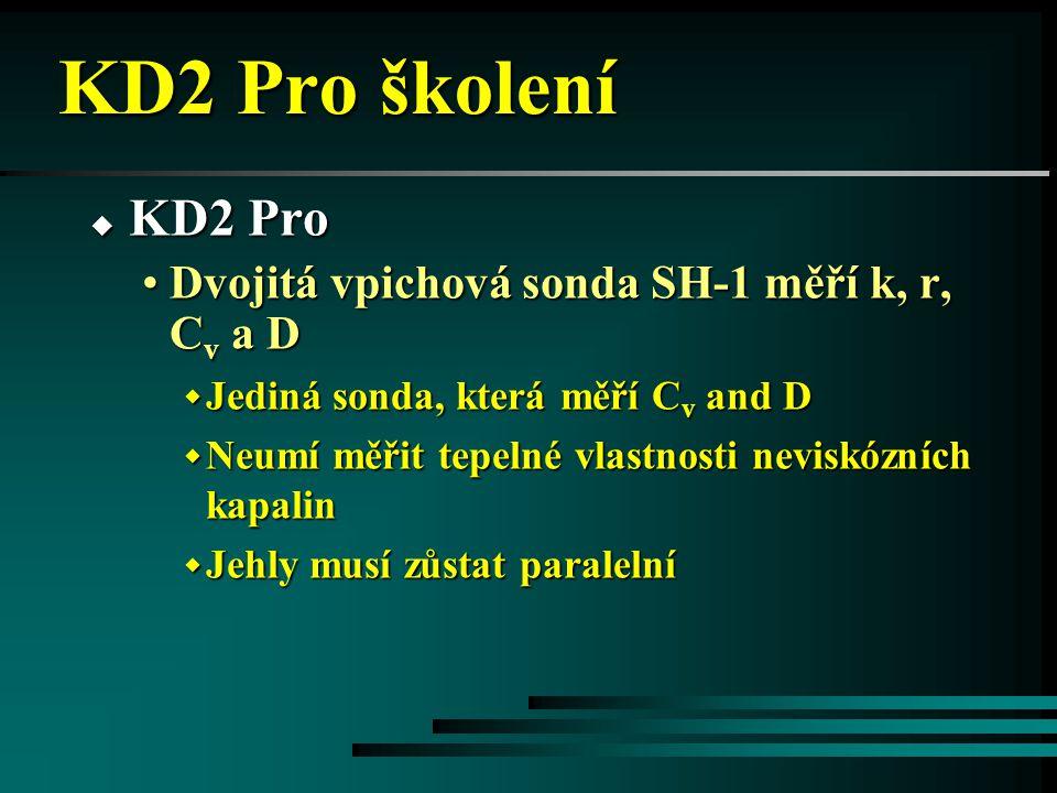 KD2 Pro školení KD2 Pro Dvojitá vpichová sonda SH-1 měří k, r, Cv a D