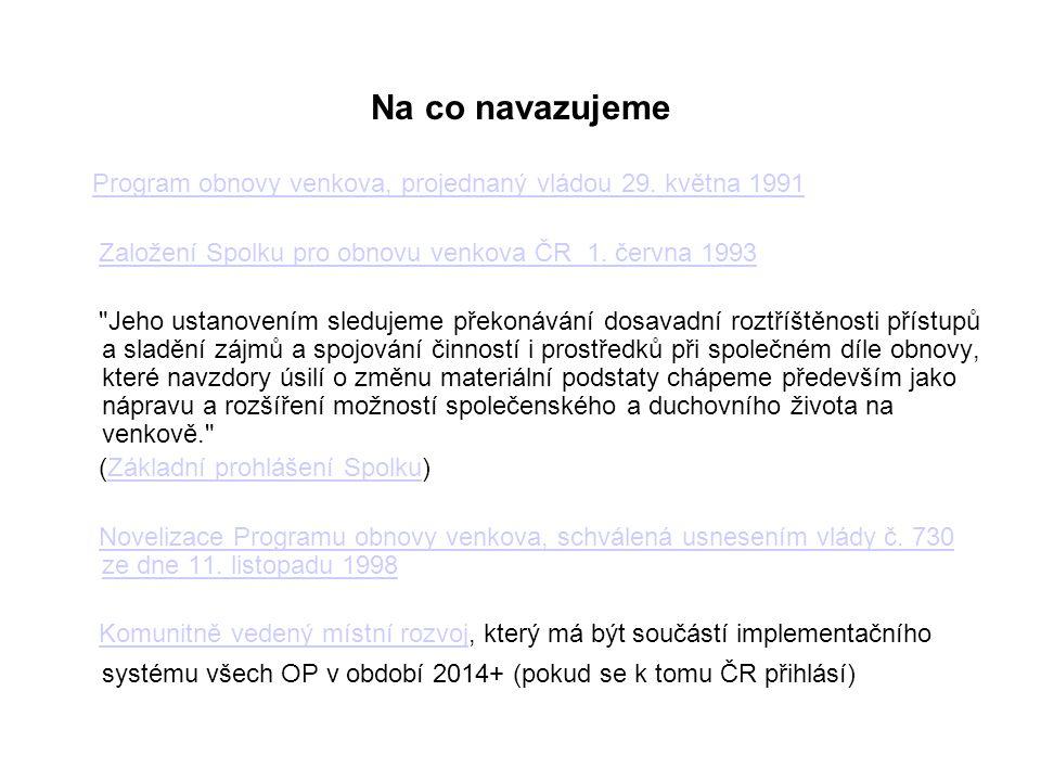 Na co navazujeme Program obnovy venkova, projednaný vládou 29. května 1991. Založení Spolku pro obnovu venkova ČR 1. června 1993.
