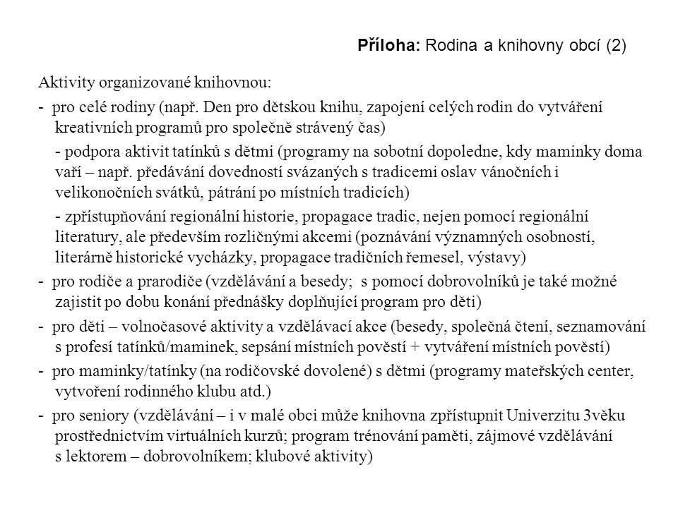 Příloha: Rodina a knihovny obcí (2)