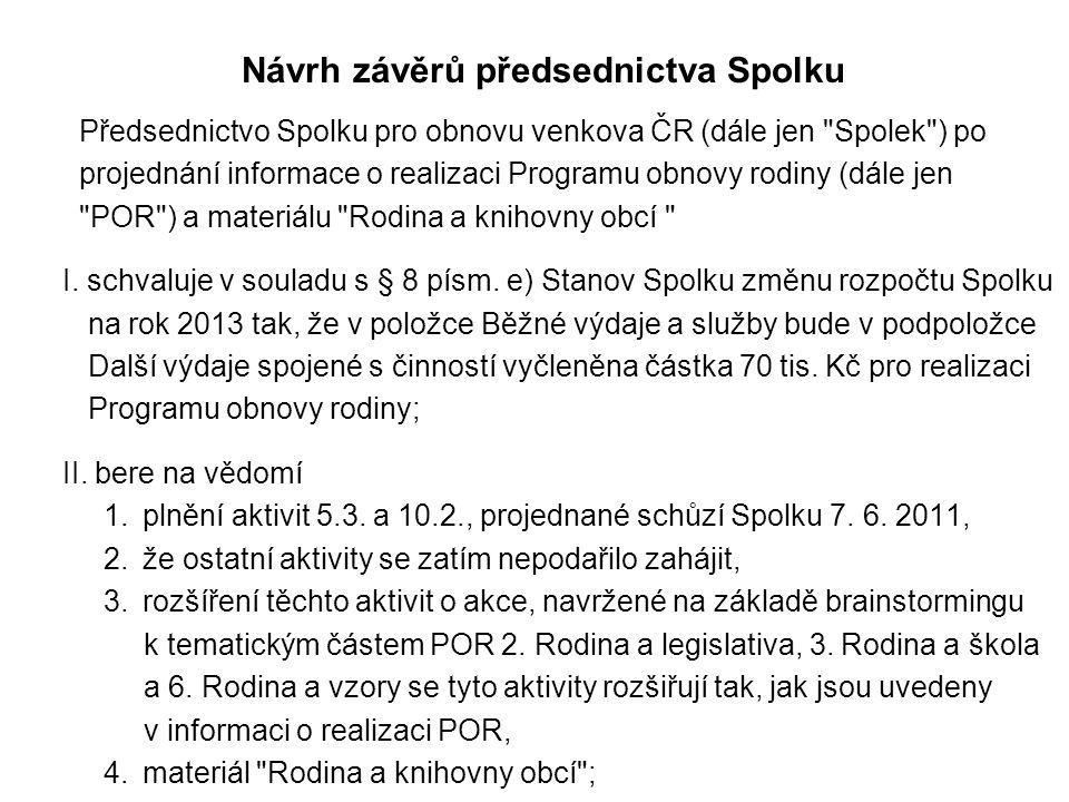 Návrh závěrů předsednictva Spolku