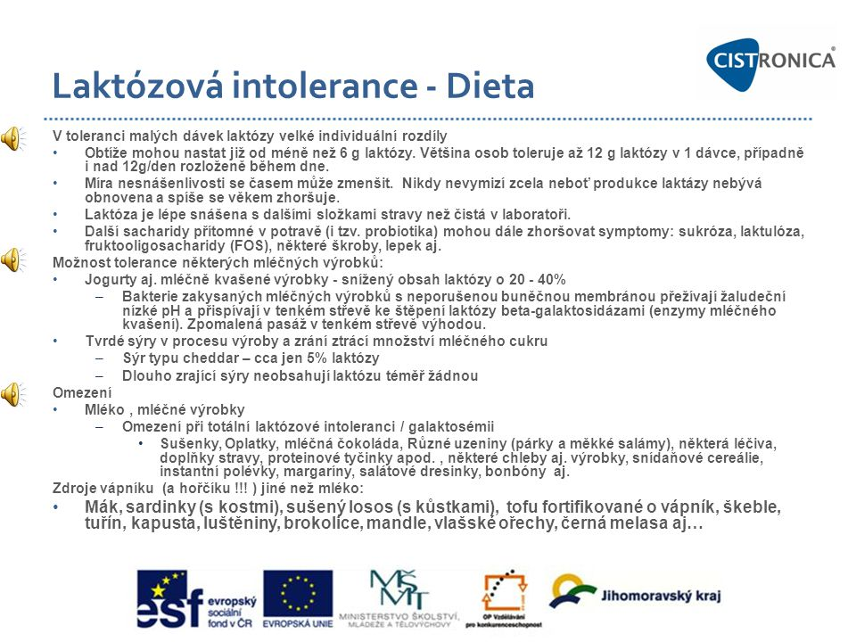 Laktózová intolerance - Dieta