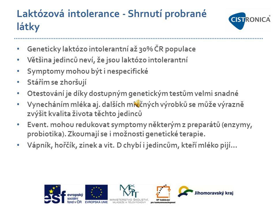 Laktózová intolerance - Shrnutí probrané látky