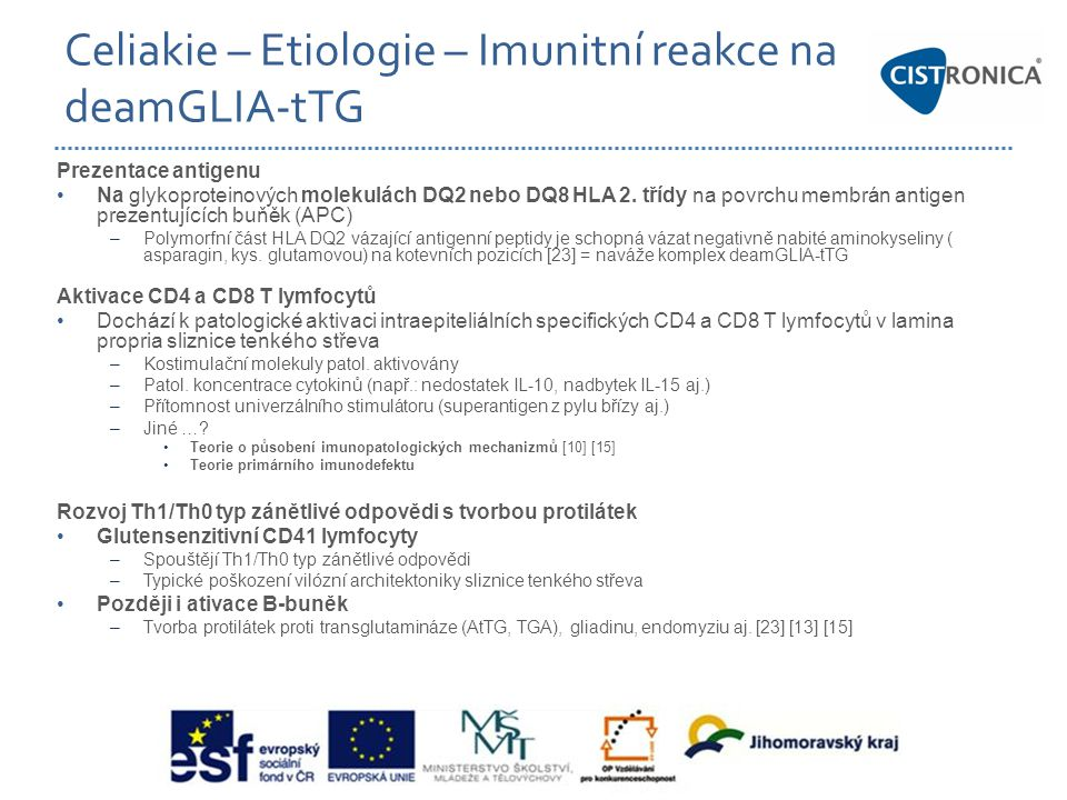 Celiakie – Etiologie – Imunitní reakce na deamGLIA-tTG