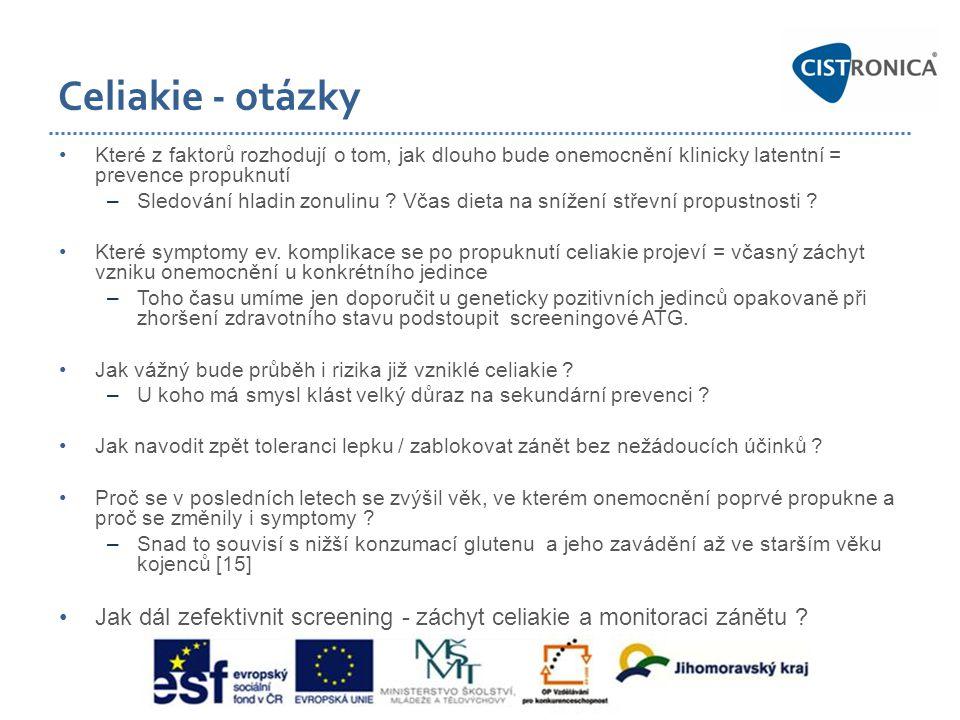 Celiakie - otázky Které z faktorů rozhodují o tom, jak dlouho bude onemocnění klinicky latentní = prevence propuknutí.