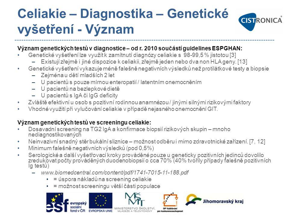 Celiakie – Diagnostika – Genetické vyšetření - Význam