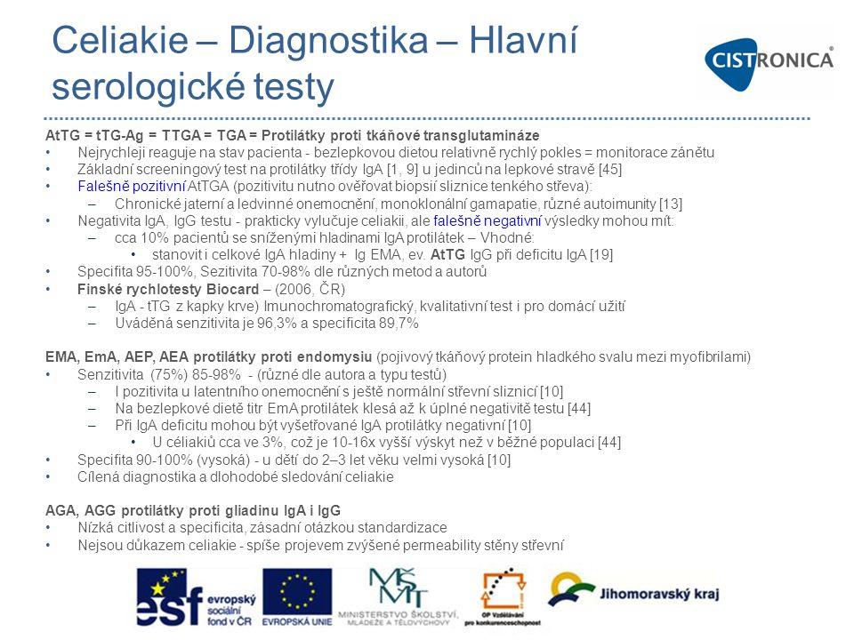 Celiakie – Diagnostika – Hlavní serologické testy