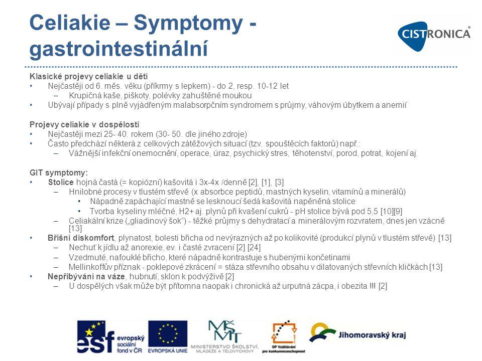 Celiakie – Symptomy - gastrointestinální