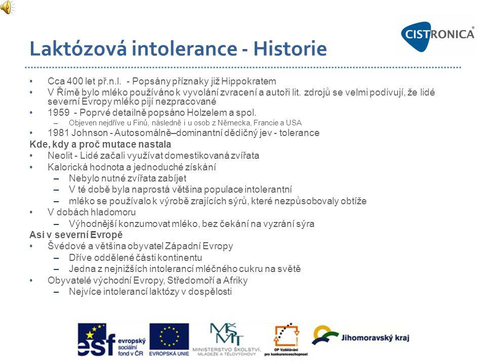 Laktózová intolerance - Historie