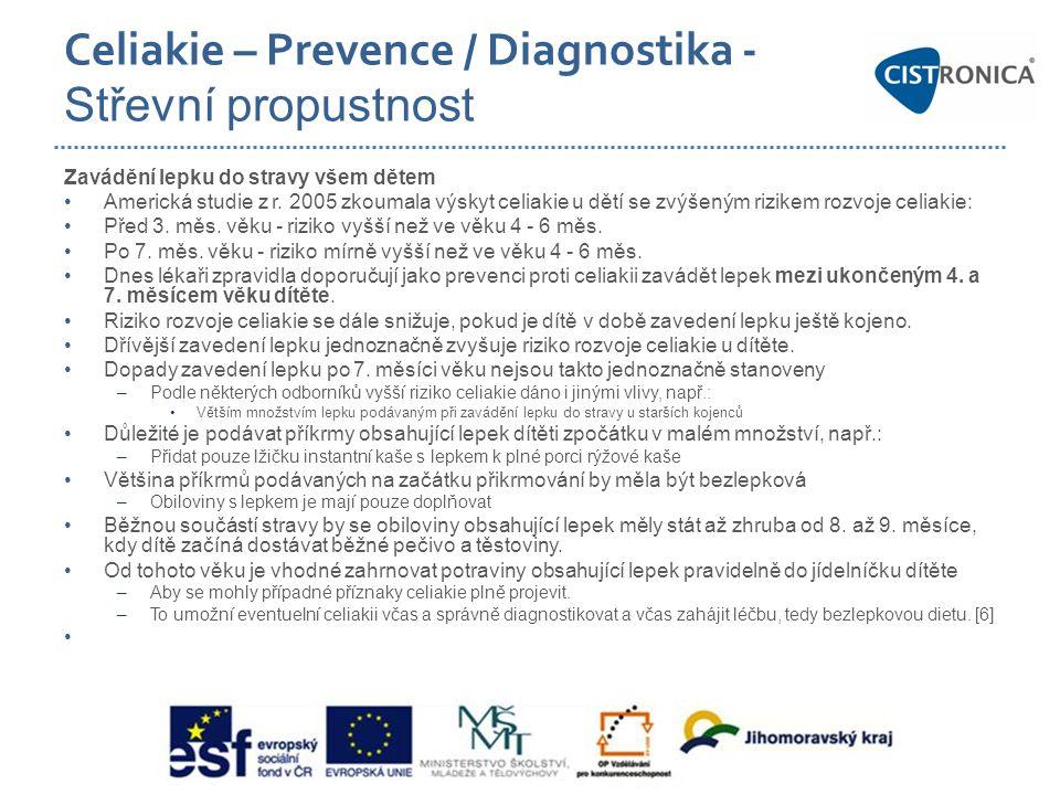 Celiakie – Prevence / Diagnostika - Střevní propustnost