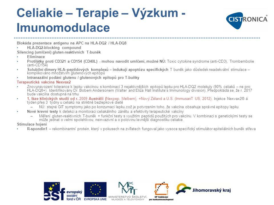 Celiakie – Terapie – Výzkum - Imunomodulace
