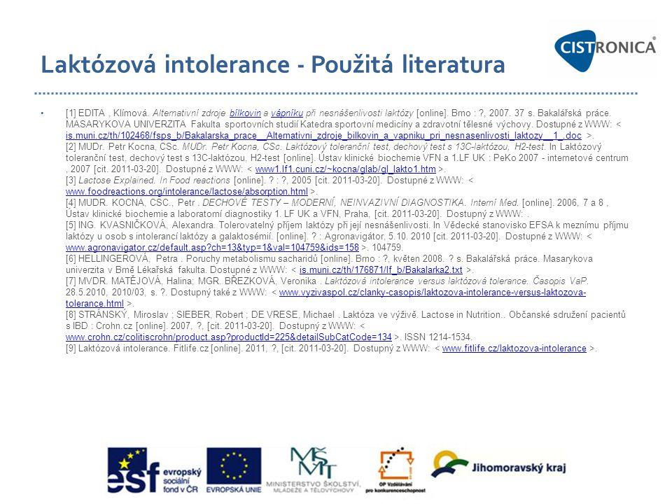 Laktózová intolerance - Použitá literatura