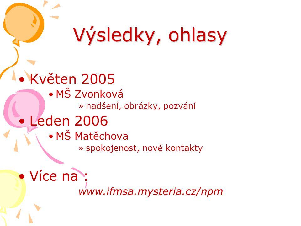 Výsledky, ohlasy Květen 2005 Leden 2006 Více na : MŠ Zvonková