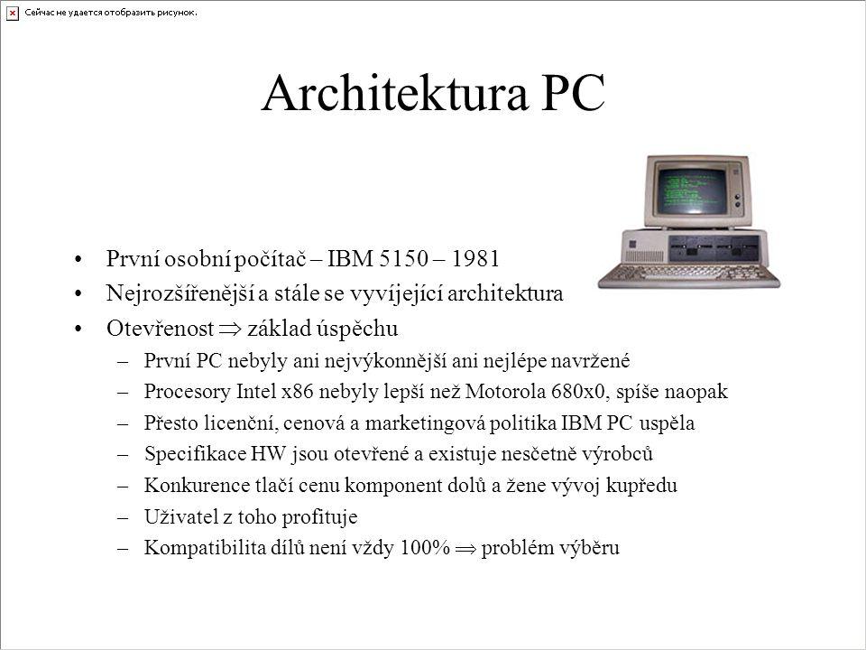 Architektura PC První osobní počítač – IBM 5150 – 1981