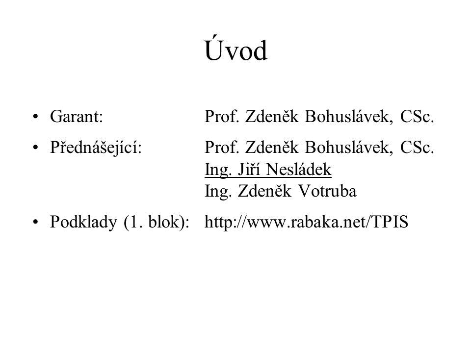 Úvod Garant: Prof. Zdeněk Bohuslávek, CSc.