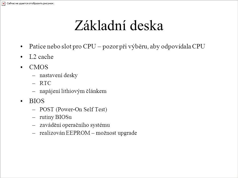 Základní deska Patice nebo slot pro CPU – pozor při výběru, aby odpovídala CPU. L2 cache. CMOS. nastavení desky.