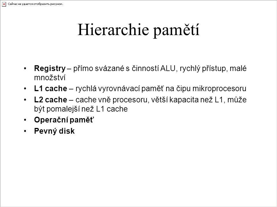 Hierarchie pamětí Registry – přímo svázané s činností ALU, rychlý přístup, malé množství. L1 cache – rychlá vyrovnávací paměť na čipu mikroprocesoru.