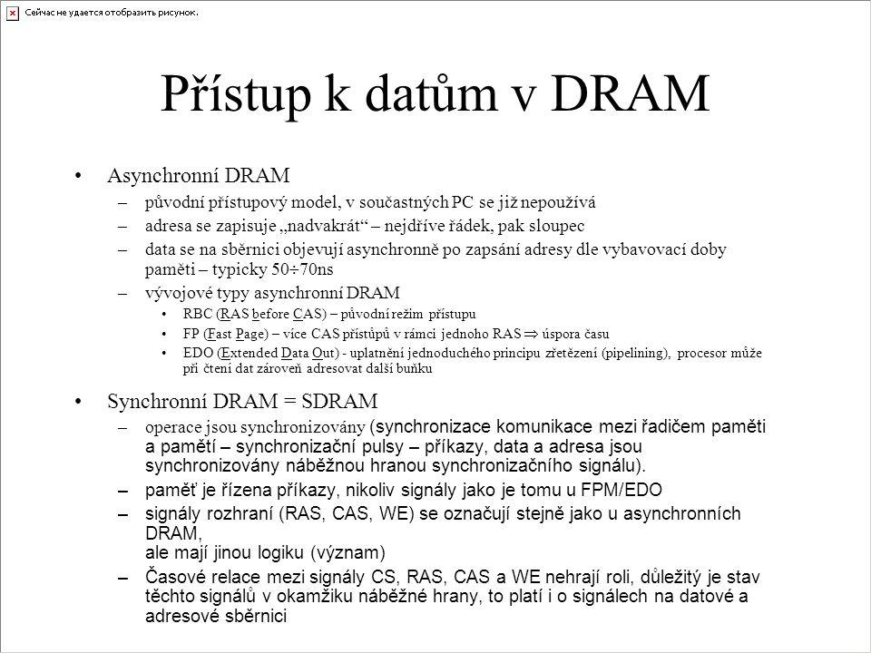 Přístup k datům v DRAM Asynchronní DRAM Synchronní DRAM = SDRAM