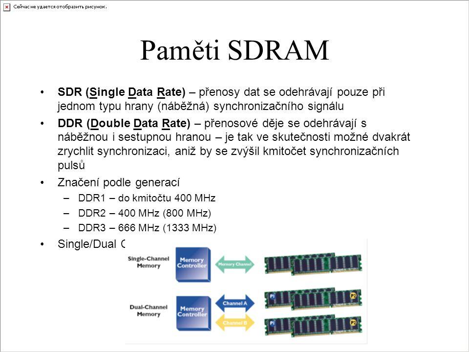 Paměti SDRAM SDR (Single Data Rate) – přenosy dat se odehrávají pouze při jednom typu hrany (náběžná) synchronizačního signálu.