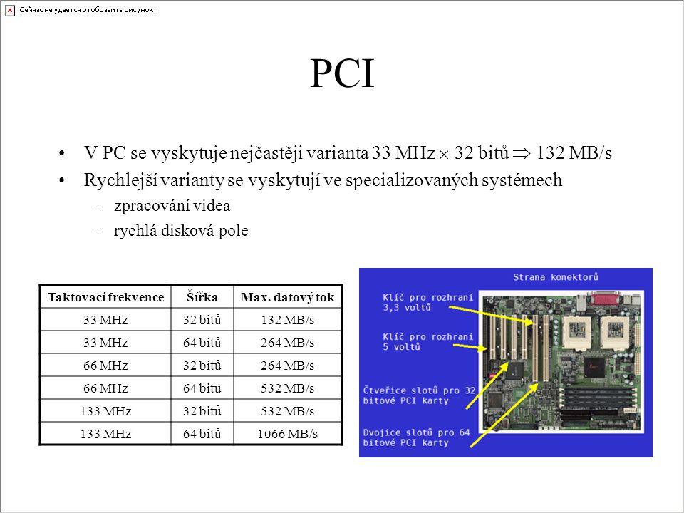PCI V PC se vyskytuje nejčastěji varianta 33 MHz  32 bitů  132 MB/s