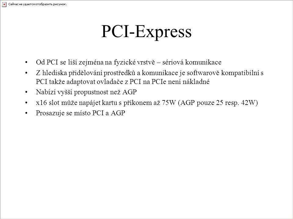 PCI-Express Od PCI se liší zejména na fyzické vrstvě – sériová komunikace.