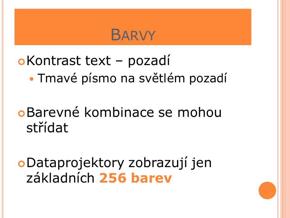 Barvy Kontrast text – pozadí Barevné kombinace se mohou střídat