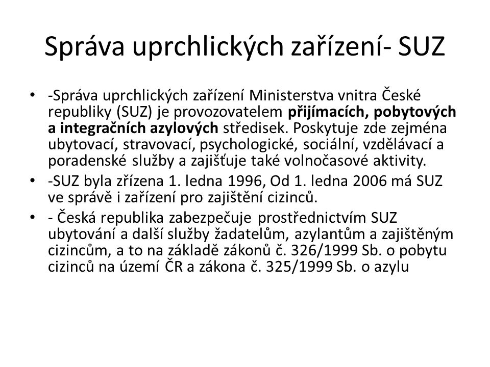 Správa uprchlických zařízení- SUZ