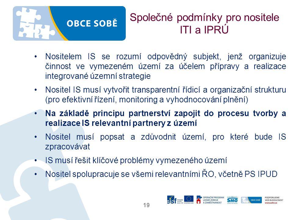 Společné podmínky pro nositele ITI a IPRÚ
