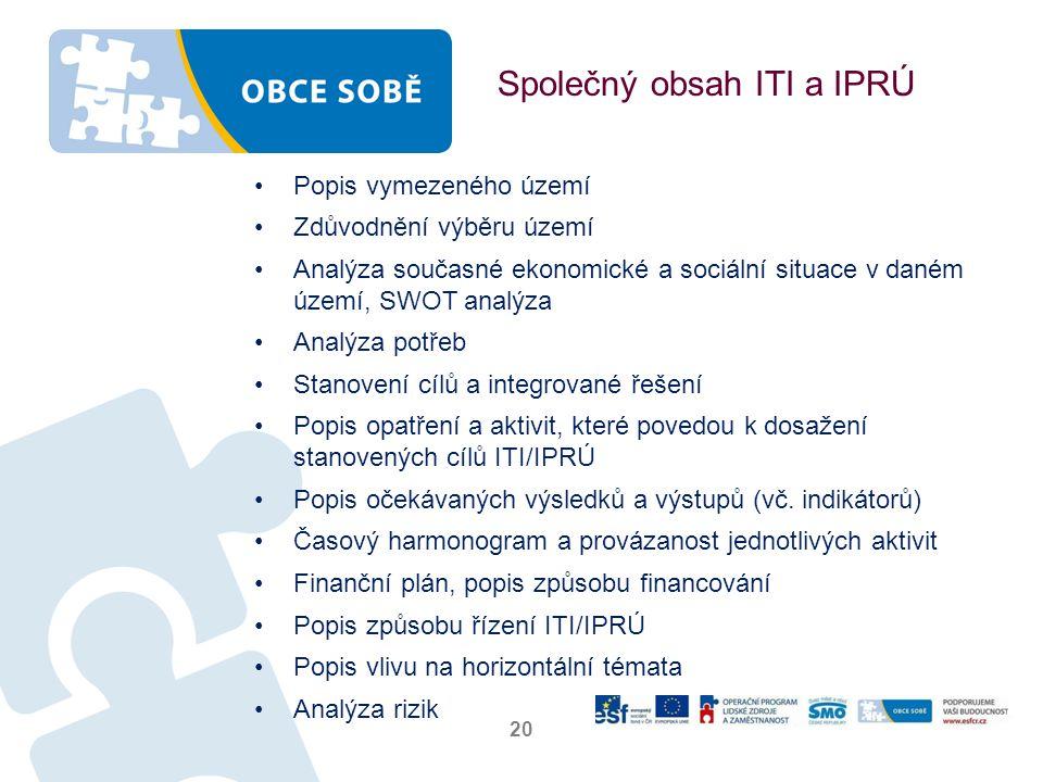 Společný obsah ITI a IPRÚ