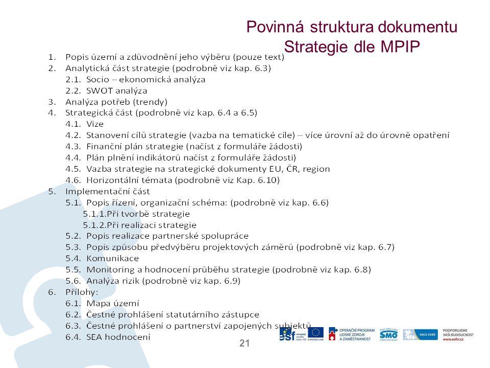 Povinná struktura dokumentu Strategie dle MPIP