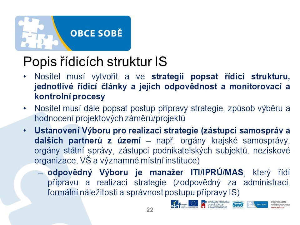 Popis řídicích struktur IS