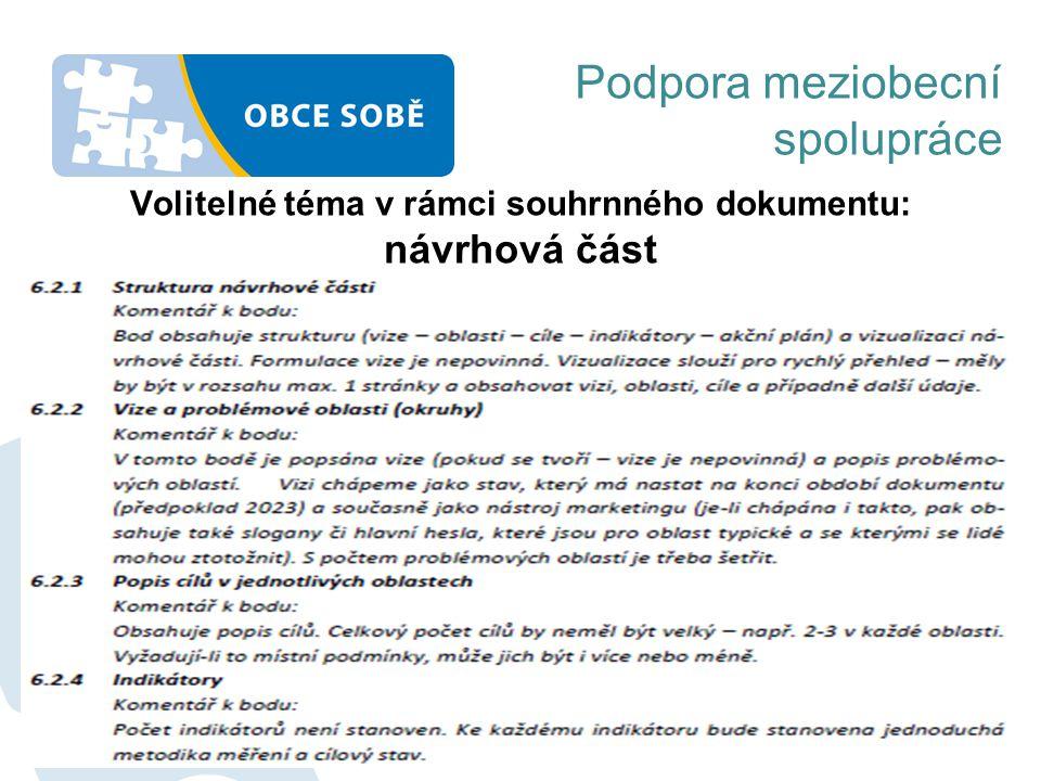 Volitelné téma v rámci souhrnného dokumentu: návrhová část