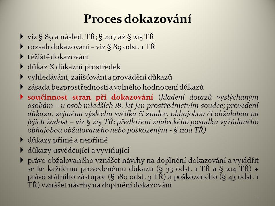 Proces dokazování viz § 89 a násled. TŘ; § 207 až § 215 TŘ