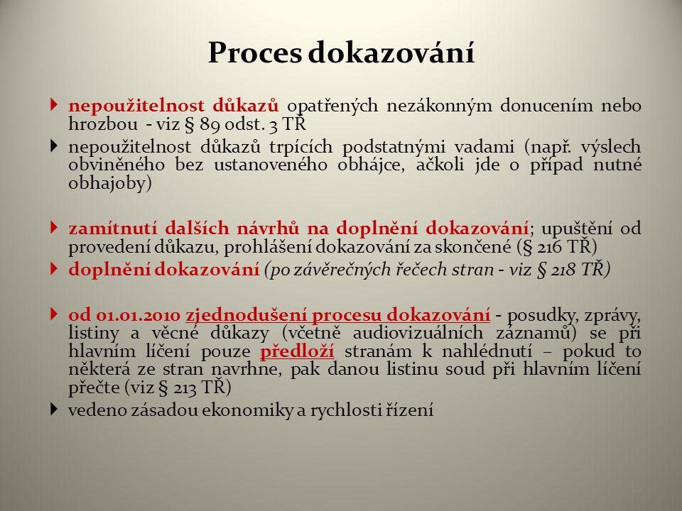 Proces dokazování nepoužitelnost důkazů opatřených nezákonným donucením nebo hrozbou - viz § 89 odst. 3 TŘ.