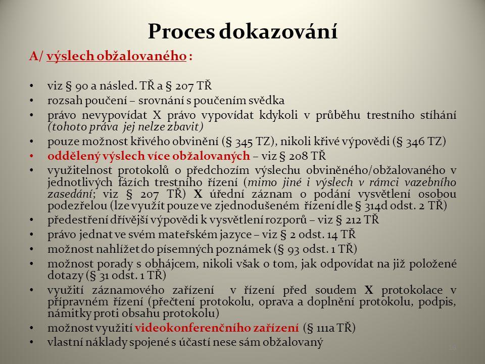 Proces dokazování A/ výslech obžalovaného :